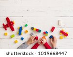 top view on mother's and child... | Shutterstock . vector #1019668447