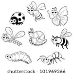 Bugs + 1 snail. Vector isolated black and white characters. - stock vector