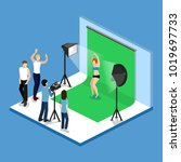 movie set  photoshoot with... | Shutterstock .eps vector #1019697733