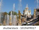 splash of water in the fountain ... | Shutterstock . vector #1019699017