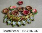 handmade oil lamps for festive...   Shutterstock . vector #1019707237