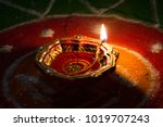 diwali oil lamp with colors in...   Shutterstock . vector #1019707243