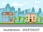 vector city with two two story... | Shutterstock .eps vector #1019724157