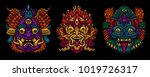 indonesian bali mask set.... | Shutterstock .eps vector #1019726317