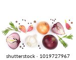 red onions  garlic with... | Shutterstock . vector #1019727967