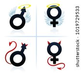 good and evil man and woman.... | Shutterstock .eps vector #1019729533