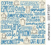 doodles coffee icons and words | Shutterstock .eps vector #101973007