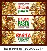 pasta and spaghetti banner of... | Shutterstock .eps vector #1019732347