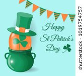 happy st patrick's day card.... | Shutterstock .eps vector #1019754757