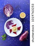 violet cabbage and mint  onions ...