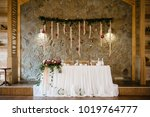 festive table newlyweds covered ... | Shutterstock . vector #1019764777