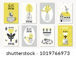 spring floral cards with plants ... | Shutterstock .eps vector #1019766973