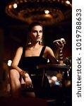 beautiful sexy fashion brunette ... | Shutterstock . vector #1019788633