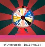 spinning fortune wheel  lucky... | Shutterstock .eps vector #1019790187