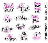 set of stickers for girls and... | Shutterstock .eps vector #1019802193