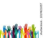 colorful up hand background | Shutterstock .eps vector #1019821057