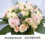 beautiful flower wedding bouquet with pink roses - stock photo