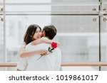 happy beautiful young asian... | Shutterstock . vector #1019861017