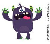 scary cartoon black monster... | Shutterstock .eps vector #1019862673