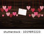 red hearts and blank paper with ... | Shutterstock .eps vector #1019892223