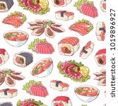 famous japanese cuisine dishes. ... | Shutterstock .eps vector #1019896927