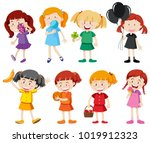 girls in different color shirts ... | Shutterstock .eps vector #1019912323
