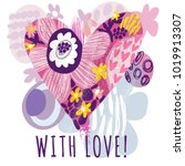heart floral hand drawn... | Shutterstock .eps vector #1019913307