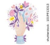 vector illustration of a hand... | Shutterstock .eps vector #1019913313