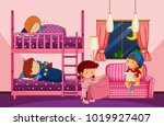 kids playing and sleeping in... | Shutterstock .eps vector #1019927407