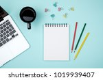 colored office desk table with... | Shutterstock . vector #1019939407
