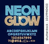graphic font with logo neon... | Shutterstock .eps vector #1019940433