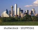 Scenic Dallas skyline - stock photo