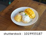 sweet thai sticky rice with...   Shutterstock . vector #1019955187