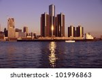 Skyscrapers by the water in Detroit - stock photo