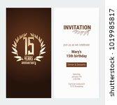15 years anniversary invitation ... | Shutterstock .eps vector #1019985817