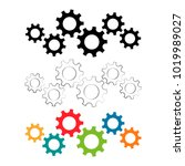 five connected gear wheels icon ... | Shutterstock .eps vector #1019989027