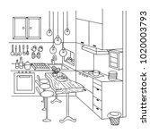 hand drawn of cute interior... | Shutterstock .eps vector #1020003793