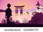 geisha mountains in the... | Shutterstock . vector #102000757