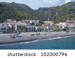 Canneto beach, Lipari - stock photo