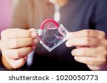 condom ready to use in female... | Shutterstock . vector #1020050773