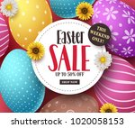 easter sale vector banner with... | Shutterstock .eps vector #1020058153