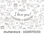 seamless doodles valentine's... | Shutterstock .eps vector #1020070153