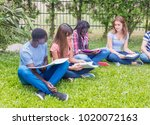 group of multi ethnic teenagers ... | Shutterstock . vector #1020072163