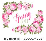 the spring sale card. spring... | Shutterstock .eps vector #1020074833