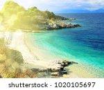 kassiopi blue lagoon beach... | Shutterstock . vector #1020105697