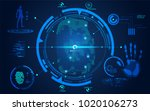 fingerprint scan in futuristic... | Shutterstock .eps vector #1020106273