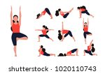 yoga training poses set with... | Shutterstock .eps vector #1020110743