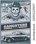 vintage colored gangster poster ... | Shutterstock .eps vector #1020123547