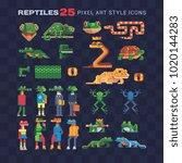 reptile tropical animal pixel... | Shutterstock .eps vector #1020144283