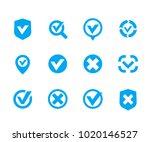 check marks  ticks set  vector... | Shutterstock .eps vector #1020146527